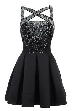 Clothing :Structured Dresses: 'Parisa' Black Stretch Satin and Crepe Crystallised Skater Dress