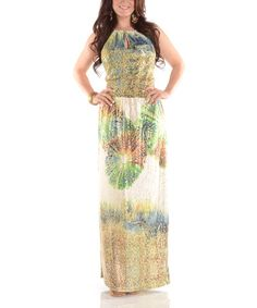 Another great find on #zulily! Green & Gold Shimmer Fireworks Maxi Dress - Plus #zulilyfinds