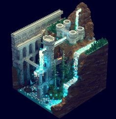 Castle in a Canyon with a Glowing River and Waterfall | Blocky Scenario - Magical