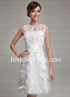 Wedding Dresses - $185.29 - Sheath/Column Scoop Neck Knee-Length Organza Satin Wedding Dress With Feather (002011489) http://jenjenhouse.com/Sheath-Column-Scoop-Neck-Knee-Length-Organza-Satin-Wedding-Dress-With-Feather-002011489-g11489