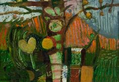 """Laurence Scarfe """"Untitled 30"""" 1972 oil on board 13x18cm"""
