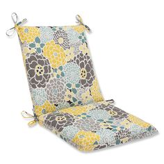 Pillow Perfect Full Bloom Squared Corners Outdoor Chair Cushion (534909), Blue (Fabric, Floral), Outdoor Cushion