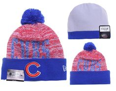 ee95c317f4f Mens   Womens Chicago Cubs New Era 2016 Fashion MLB Word Fuzz Crown Knit  Beanie Hat With Pom Pom - Blue   Red