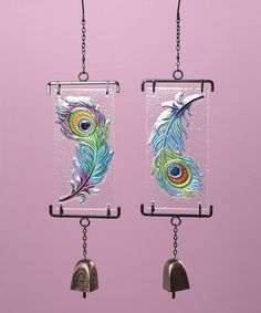 Look at this #zulilyfind! Peacock Feather Wind Chime Set #zulilyfinds