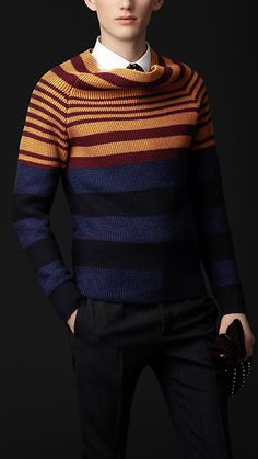 Burberry - FUNNEL NECK STRIPED SWEATER