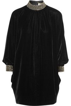 Saint Laurent Beaded velvet mini dress | NET-A-PORTER