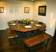 16 best Table ideas images on Pinterest   Dining room  Dining rooms     Knotty Alder Octagonal Dining Table With Benches