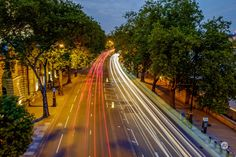 Traffic light trails along the Embankment