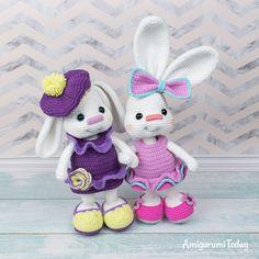 Pretty Bunny in pink dress - Free crochet pattern by Amigurumi Today Crochet Bunny Pattern, Crochet Rabbit, Crochet Animal Patterns, Crochet Patterns Amigurumi, Crochet Dolls, Crochet Gratis, Free Crochet, Easter Crochet, Crochet Basics