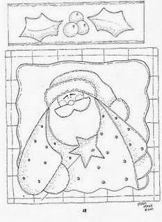 Risultati immagini per pintura country diseños con patron Hand Embroidery Patterns, Applique Patterns, Applique Quilts, Colouring Pics, Coloring Book Pages, Felt Christmas, Handmade Christmas, Santa Paintings, Pintura Country