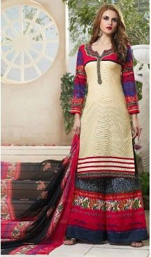Beige Color Simple Cotton Stitched Palazzo Dresses with Dupatta | FH456871468