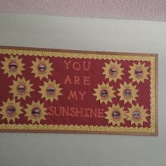 """You Are My Sunshine"" is a bright idea for a summer bulletin board display.  I like this idea of taking pictures of students (wearing sunglasses) and placing them inside sun templates."