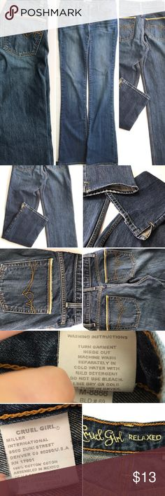 """Cruel girl jeans Crew girl jeans please see tags for materials washing    instructions and size. Rise 9"""" waist 32"""", inseem 31"""". 🚭 cruel girl Jeans"""