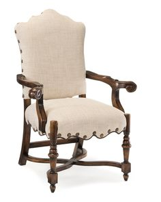 French Linen Dining Armchair - Upholstered Exposed Wood - Upholstered Furniture - Our Products