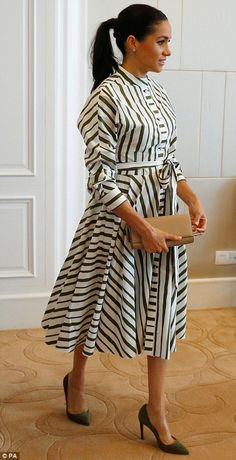 Meghan Markle wears a striped designer dress as she and Prince Harry meet the Tongan prime minister | Daily Mail Online