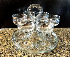 Vintage 1930s LE Smith Greensburg Glass Center Handle Beverage Tray w/Six Glasses by TimelessTreasuresbyM on Etsy