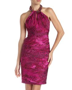 Snake-Print Ruched Halter Dress by Carmen Marc Valvo at Last Call by Neiman Marcus.