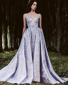 2017 Paolo Sebastian Lavender Lace Prom Dresses Sheer Plunging Neckline Appliqued Evening Gowns Tulle See Through Backless Formal Dress Evening Dresses, Prom Dresses, Formal Dresses, Formal Prom, Bridal Dresses, Elegant Dresses, Pretty Dresses, Colored Wedding Dresses, Couture Dresses