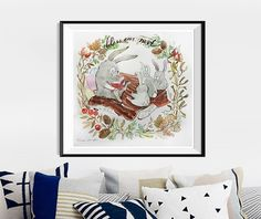 Custom Name, watercolor painting,Woodland Animals, Nursery Decor, Nursery Art, New Baby Gift, First Anniversary,Forest Animals, baby nursery