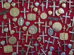 Lot of 100 Vintage 1960's Religious Medals, Crosses & Crucifix CATHOLIC Jewelry