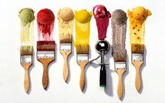 Award winning NYC photographer of food, botanicals & still life - 212.420.0206 - ice cream scoops paint brushes KIYOSHI TOGASHI