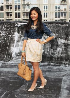 Skirt The Rules: cocktail casual - denim shirt, gold jacquard skirt, statement pearls