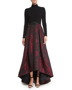 TAT7X Theia Long-Sleeve Mock-Neck Combo Gown