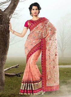 Eye Catcher Net Hot Pink Saree