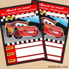 FREE Printable Disney CARS Lightning McQueen Birthday Invitation