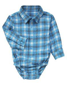 Plaid shirt styling in a cozy flannel bodysuit.