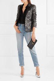 Saint LaurentSatin-trimmed jacquard blazer