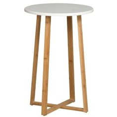 This table can be used in many different rooms in the house and is very versatile. Perfect for a couch side table or night stand, this occasional table is light weight yet sturdy. The legs have a modern cross design and can support items well due to Round Side Table, End Tables, Bedside Tables, Round Dining, Coffee Tables, Telephone Table, Plant Table, Bamboo Furniture, Furniture Deals