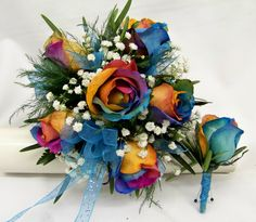 Rainbow Roses in a Bouquet with matching Boutineer