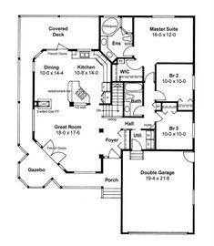 LOVE THIS SMALL HOUSE. Main Floor Plan - wrap around porch-- Make it a office and workout rooms instead of bedrooms---- Make this a two story with full basement and a 6 bedroom house upstairs, master on main, and 2 in basement Country Style House Plans, Dream House Plans, Small House Plans, House Floor Plans, Unique House Plans, 1500 Sq Ft House, Br House, Story House, House Bath