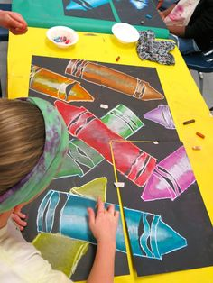 "Cassie Stephens- 4th grade collaborative lesson. Use with ""The Day The Crayons…"