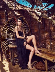 Marina Perez channels her inner warrior princess for a fashion editorial featured in the latest Rabat Magazine. Marina models a black fringe dress while showing off her slim legs