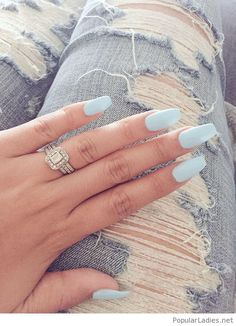 long-light-blue-nails-and-a-beautiful-silver-ring