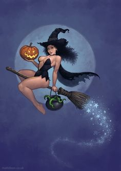 sexy WITCH on broom - cauldron - jack-o-lantern - pumpkin - moon and stars - blue / black / orange / green