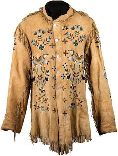 American Indian Art:Beadwork and Quillwork, A SANTEE SIOUX PICTORIAL BEADED AND FRINGED HIDE JACKET. c. 1890...