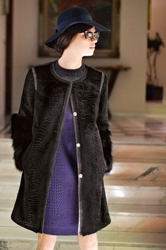 Black Sheared and Grooved Mink and Fox Fur Coat