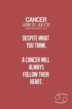 Cancer Zodiac Sign will always follow their heart.
