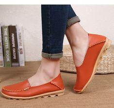 f8d52c893988 Женские туфли лодочки Слипоны женские лоферы Мягкие Мокасины с натуральная  женская кожаная обувь плюс Обувь на