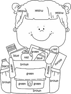 Back To School Coloring Pages For Preschoolers. We all go to school. We all study at school. We all love our school. School is where we learn, where we socialize, where we know many things. Kids English, English Lessons, Learn English, English English, Color Activities, Classroom Activities, Kindergarten Activities, Education English, Teaching English