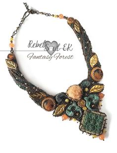 fantasy necklace elven necklace nature colors by RebelSoulEK