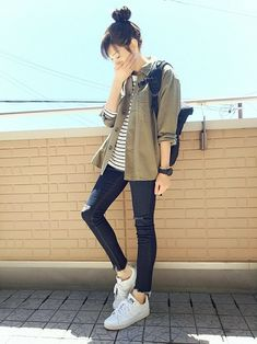 Boyish Outfits, Korean Casual Outfits, Cute Casual Outfits, Simple Outfits, Pretty Outfits, Korean Girl Fashion, Korean Fashion Trends, Korean Street Fashion, Asian Fashion