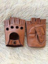 Men's brown fingerless lambskin driving leather gloves