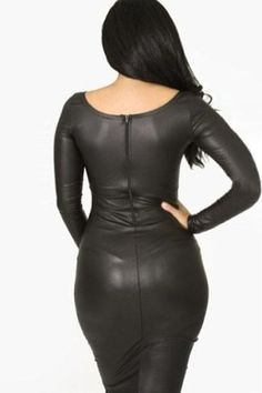 The shimmery leather fabric shines its luster to catch everyone's eyes. Front Ruffled Long-sleeve Leather Dress features pleated front bottom part with salient