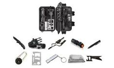 Survival and camping kit featuring a tactical knife for camping, survival and wilderness trips and a paracord compass