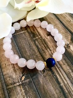 Lapis Lazuli Rose Quartz Beaded Bracelet, Healing Crystals, Wellness Bracelets, Gemstone Jewelry, Birthday Gifts, Mother's Day Gifts by DesignsbyLolaBelle on Etsy