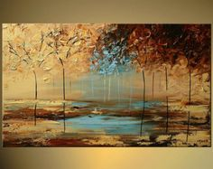 Modern Landscape Abstract Original Acrylic by OsnatFineArt on Etsy